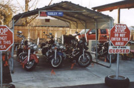 Customer's bikes waiting to be worked on